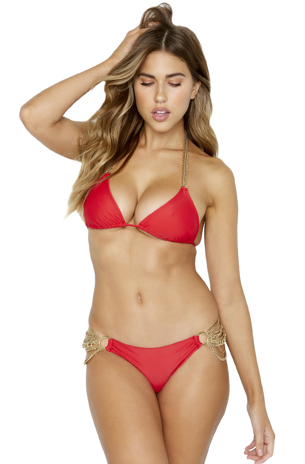 Купальник с цепочками Beach Bunny Ball and Chain Triangle Top & Skimpy Bottom Red - MixBikini